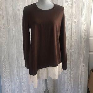 LOGO Lori Goldstein Brown Tunic Sweater M